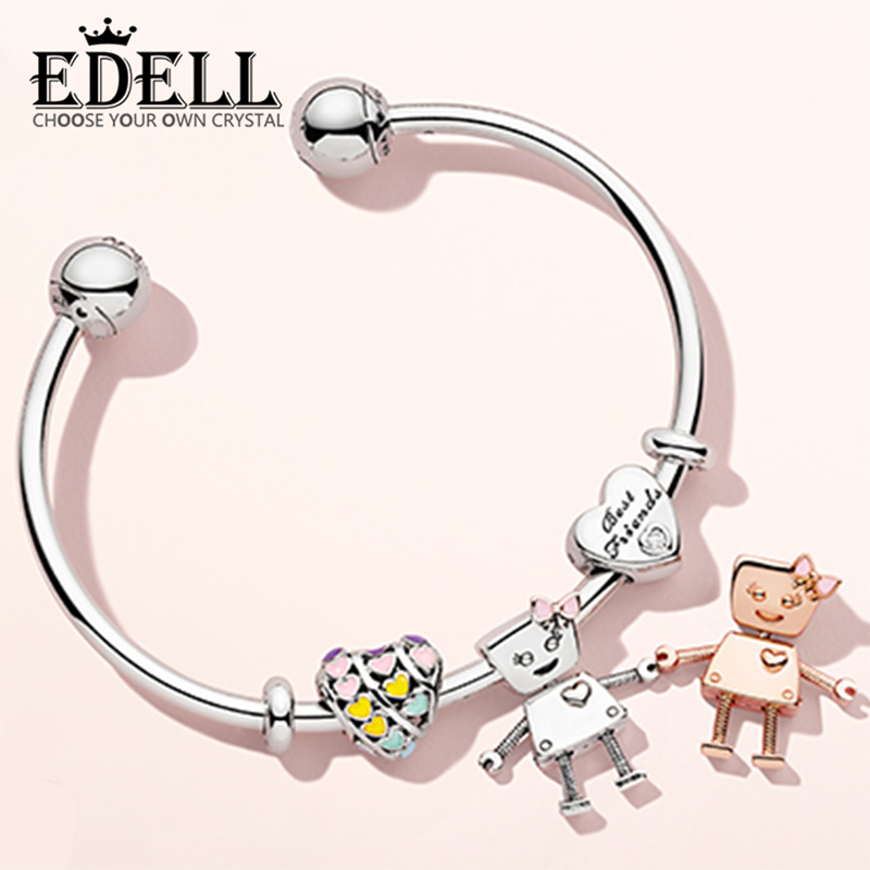 EDELL 100% Sterling Silver Brand New 1:1 Friend Bracelet Set Sun Robot Bracelet Set