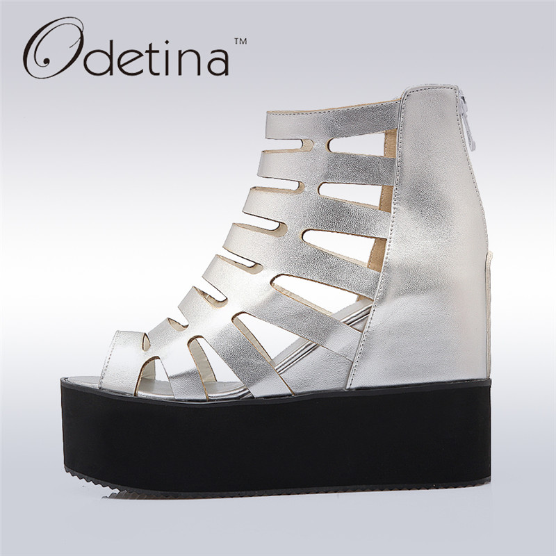 Odetina 2017 New Fashion Peep Toe Wedge Heels Open Toe Platform Sandals Gladiator Cut-outs Summer Ankle Boots Elegant Big Size newest cut outs metal chain heels ankle boots leather open toe summer gladiator boots high heeled sandals free shipping