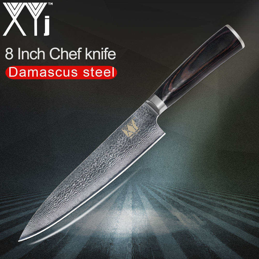 XYj Damascus Kitchen Knives VG10 Damascus Steel Japanese Kitchen Knife Slicing Chopping Santoku*2 Utility*2 Fruit Chef Knife