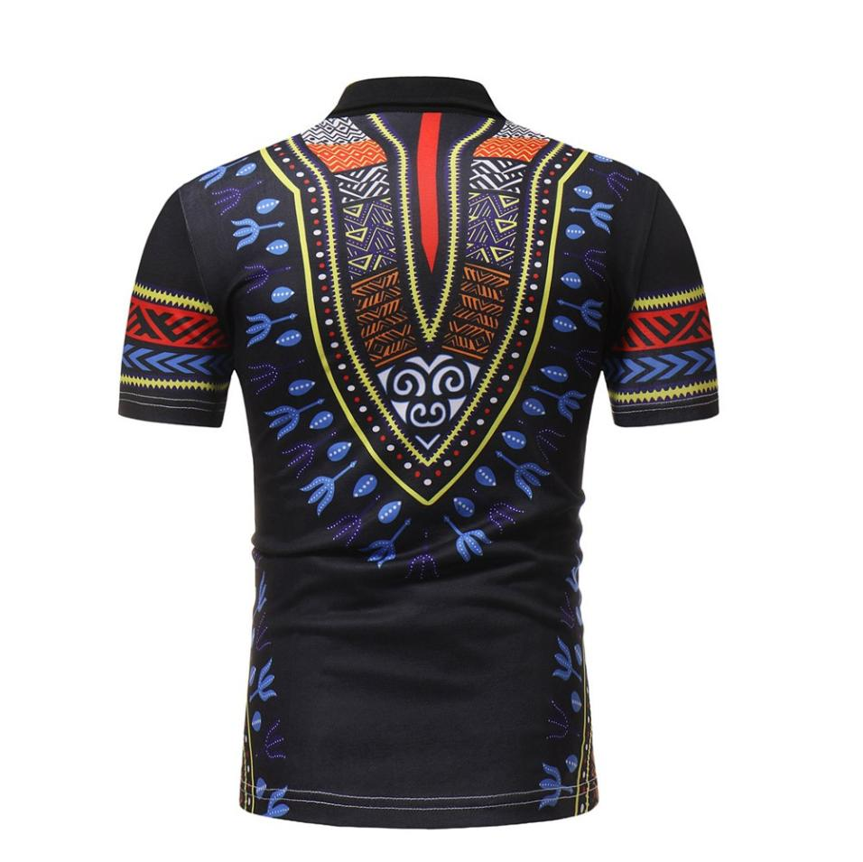 a33f3a9a2b1f Male Vintage Polo shirts 2018 Bohemia Short Sleeve African Printed Muscle Tee  shirt Casual Turn-down collar Slim Fit Tops  4