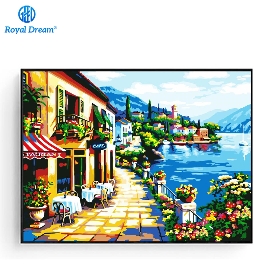 Seascape House Canvas Painting Natural Scenery 16X20\