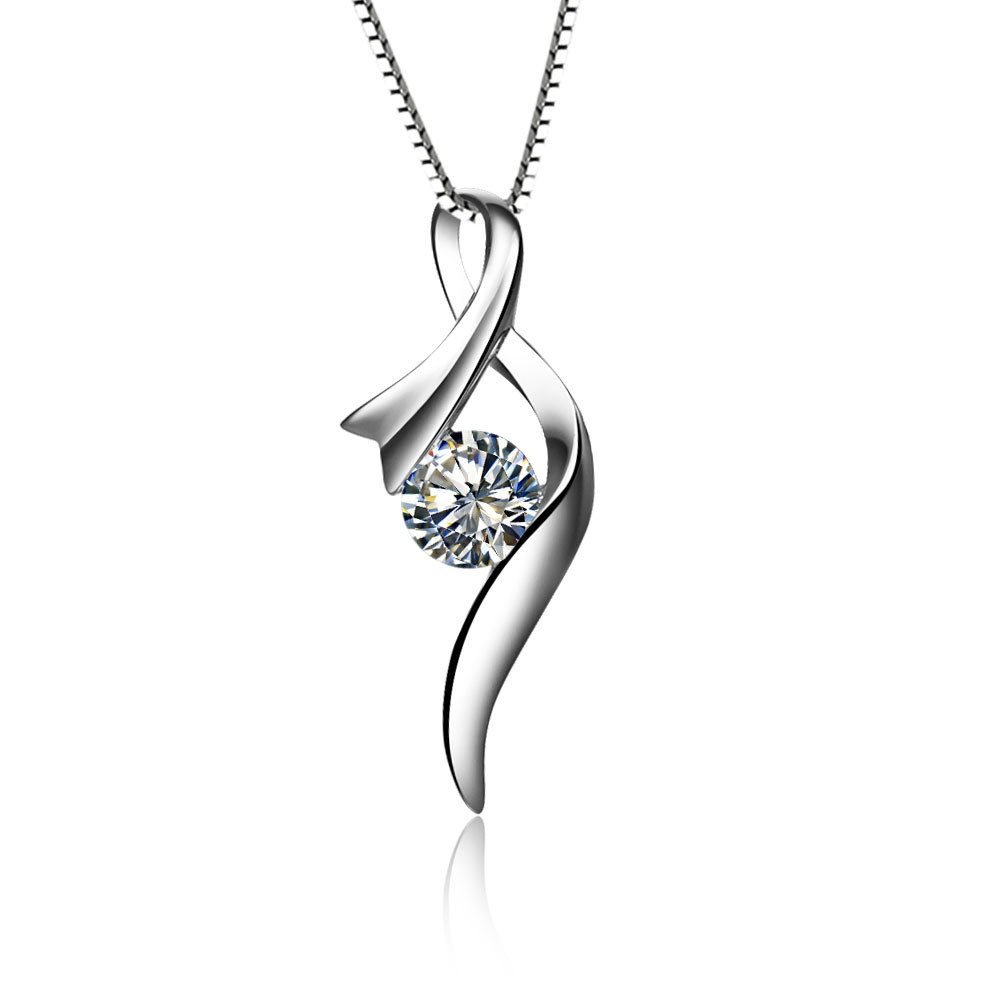 Plated 18k white gold pendant high quality 05carat lovely diamond plated 18k white gold pendant high quality 05carat lovely diamond pendant sterling silver wedding necklace for women in pendants from jewelry accessories aloadofball Image collections