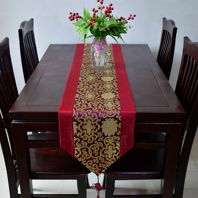 Width 33 Cm Stain Drill Table Runner Tribute Silk Table Runner Chinese  Luxury Style Wine Red