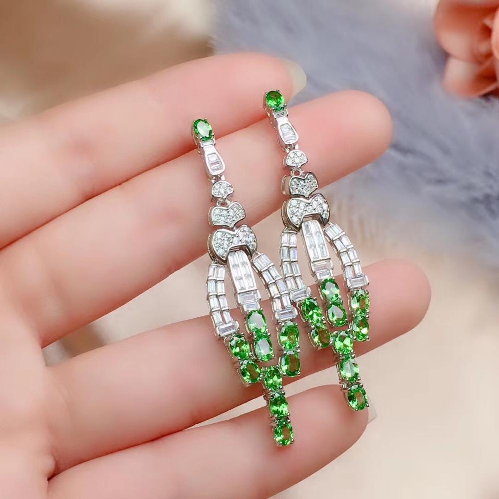 Livraison gratuite naturel et réel Tsavorite boucle d'oreille 925 en argent sterling boucles d'oreilles bijoux fins - 6