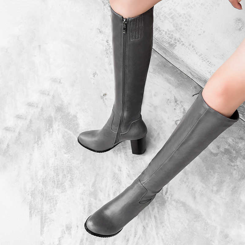 WETKISS diz yüksek çizmeler kadın yuvarlak ayak PU peluş sürme çizme yüksek topuklu bayan botları Zip ayakkabı kadın 2020 artı boyutu şövalye çizmeler