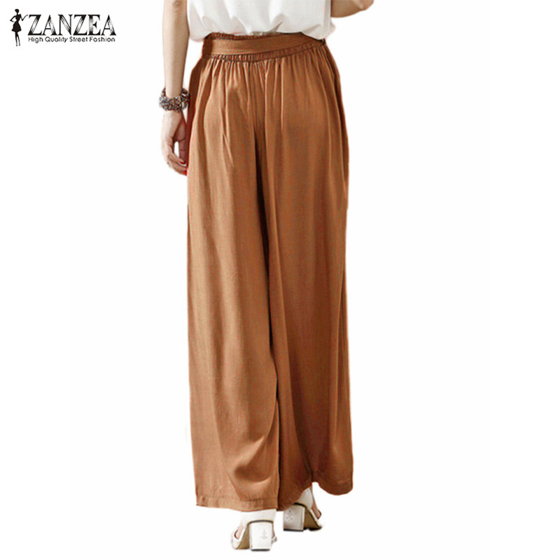 2018 Women Wide Leg Pants Casual Loose Vintage Elastic Waist Trousers Casual Cotton Oversized Solid Long Pants Plus Size 4