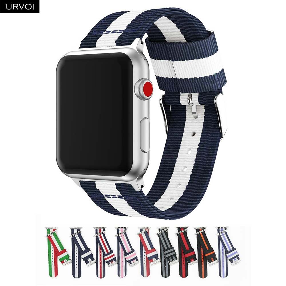 URVOI NATO band for apple watch Series 4 3 2 1 nylon woven strap for iwatch classic styles colors pattern with adapters 38 42mm цвета apple watch 4