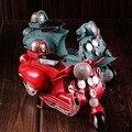 Hojalata clásico Pedal Motocicleta Colección Escaparate de Artesanía Hecha A Mano de Hierro Modelo de Motor