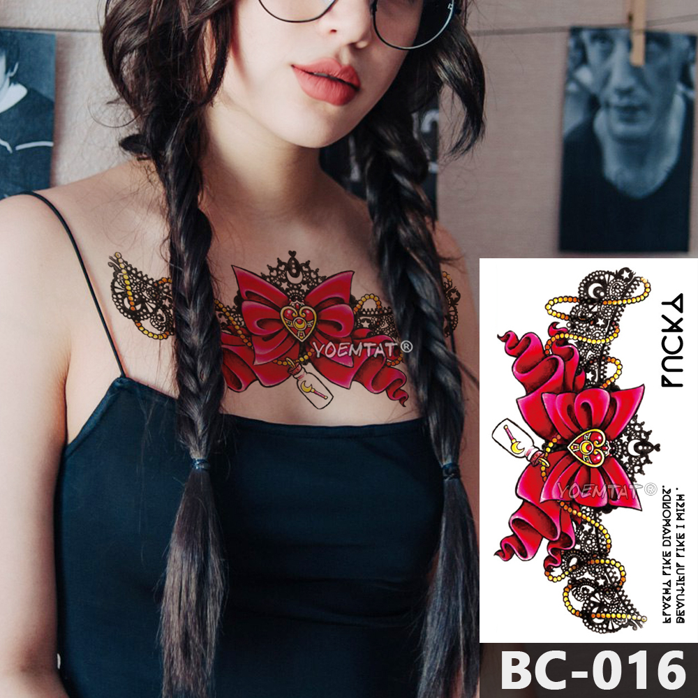 1 Sheet Chest Body Tattoo Temporary Waterproof Jewelry Star moon bow lace pattern Decal Waist Art Tattoo Sticker for Women in Temporary Tattoos from Beauty Health