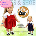 Fit 45cm About 18inch American Girl Doll Clothes Red Or Dark Blue Colour Can Be Choose With Beautiful Shoes Hot Doll Accessories