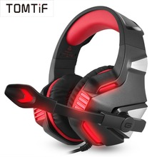 TOMTIF Wired Headphones ps4 Gaming Headset PC with Microphone for iPad Mobile Phone Laptop xbox USB LED Light Audio Casque Gamer