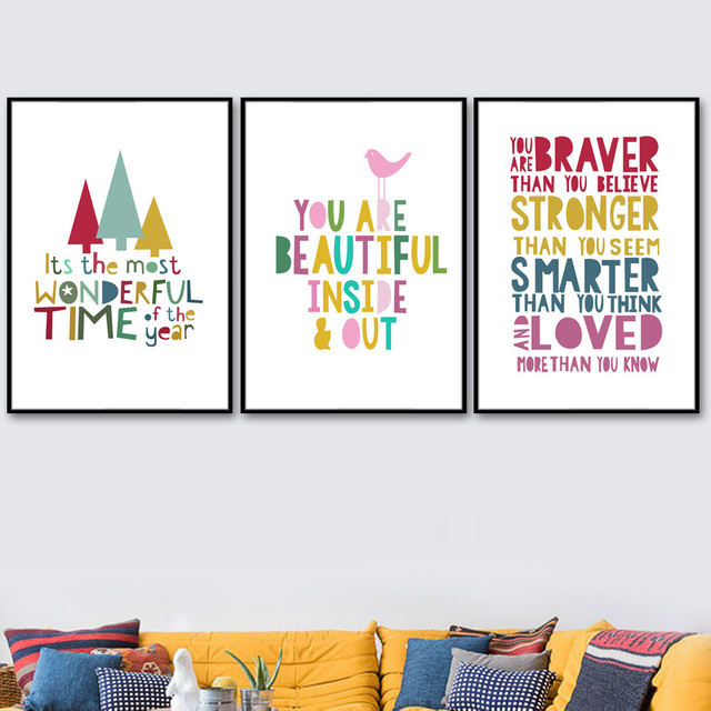 Nordic Posters And Prints Cartoon Motivational Quotes Wall Art  1