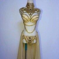 Сценическая одежда для выпускного вечера Сексуальная блесток Золотой горный хрусталь наряд бюстгальтер короткая юбка Кристалл Вечерние в