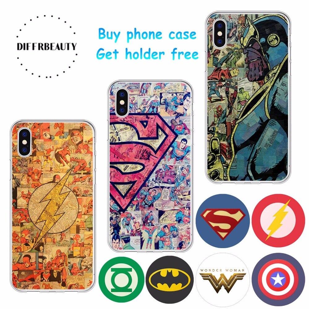 DIFFRBEAUTY Marvel America Captain Shield Superhero Case Cover for iPhone X 7 8 Plus 6 6s Thanos Spiderman Wonder Woman Batman