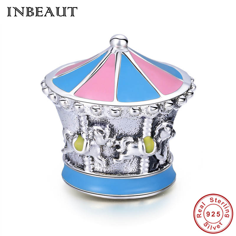 Jewelry & Accessories Beads Realistic Inbeaut 925 Sterling Silver Pink Blue Enamel Fantasy Merry-go-round Galloper Horse Beads Charm Fit Original Bracelet For Wedding