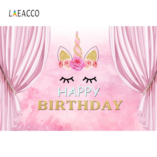 Laeacco Unicorn Birthday Party Backdrop Pink Curtain Baby Flower Child Family Party Portrait Photography Background Photo Studio