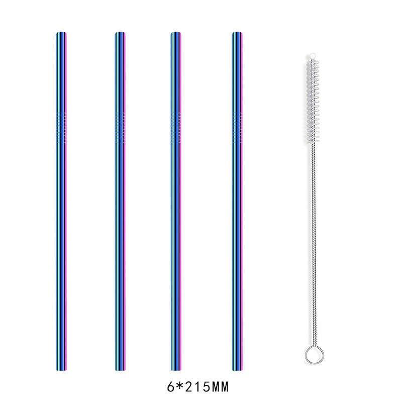 Herbruikbare Metalen 4/8pcs Rvs Straw Rietje Met Cleaner Brush Voor Thuis Party Bar Bar Accessoires