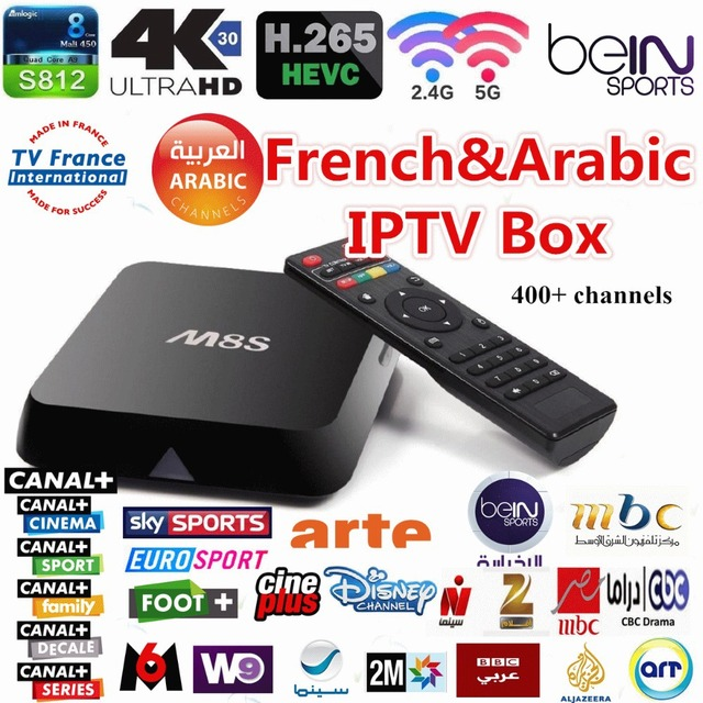 French & Arabic IPTV Quad core M8S TV Box with 2GB/8GB 1 Year Live tv for Bein sports Canal plus Kids OSN MBC Sky Europe sports