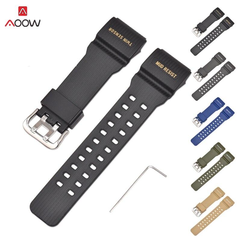 AOOW bracelet pour Casio GG-1000/GWG-100/GSG-100 g-shock caoutchouc bracelet de montre bandes étanche Sport montre ceinture avec outils