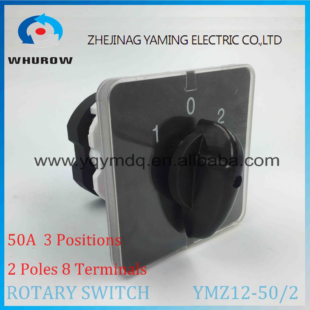 Rotary switch knob 3 position 1-0-2 YMZ12-50/2 universal manual electrical changeover cam switch 50A 690V 2 phases high quality 660v ui 10a ith 8 terminals rotary cam universal changeover combination switch