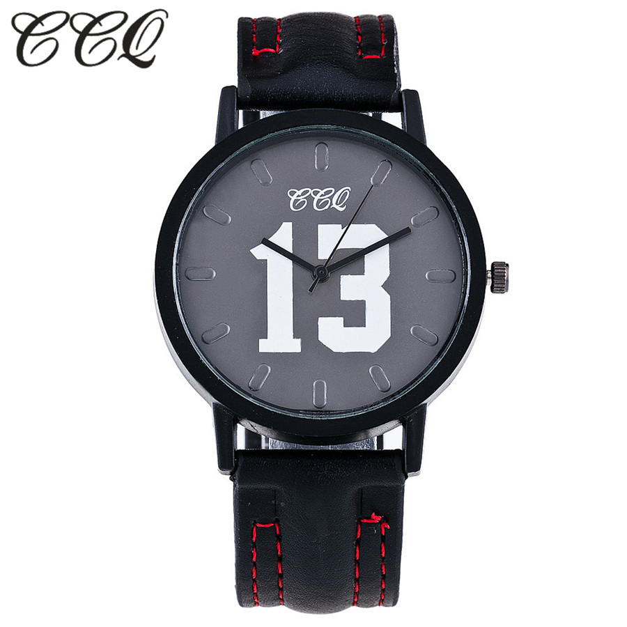 CCQ Brand Fashion Leather Watch With Number 13 and 14 Casual Vintage Women Wristwatch Luxury Quartz Watch Relogio Feminino C65 ccq brand fashion roma vintage cow leather bracelet watch casual women wristwatch luxury quartz watch relogio feminino