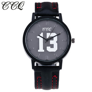 CCQ Brand Fashion Leather Watch With Number 13 and 14  Casual Vintage Women Wristwatch Luxury Quartz Watch Relogio Feminino C65