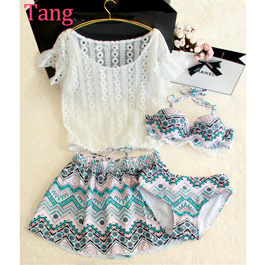 ФОТО STAR MENG Japanese white lace small chest gather four piece swimsuit girls bikinis conservative skirt suit