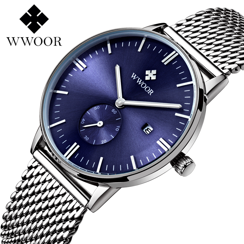 Top Luxury Brand WWOOR Quartz Stainless Steel Mesh Watch Casual Men Blue Ultra Thin Sports Male Clock biden men s watches new luxury brand watch men fashion sports quartz watch stainless steel mesh strap ultra thin dial date clock