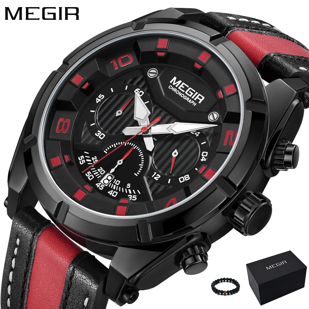 MEGIR 2018 New Mens Watches Top Brand Luxury Black Red Leather Band Fashion Army Military Watch Sport Quartz Wrist Watch Men