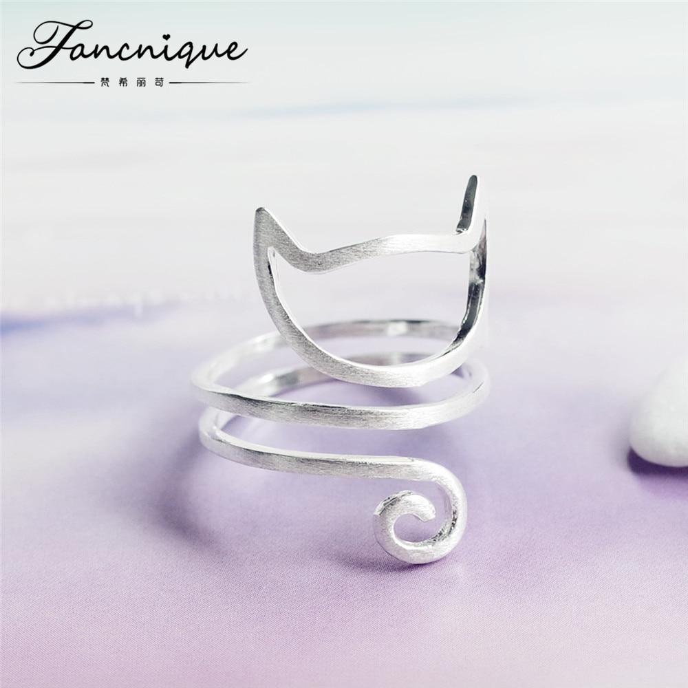 925 plata esterlina Guita anillo de gato joyas 925 Anillos para las mujeres ajustable freeshipping