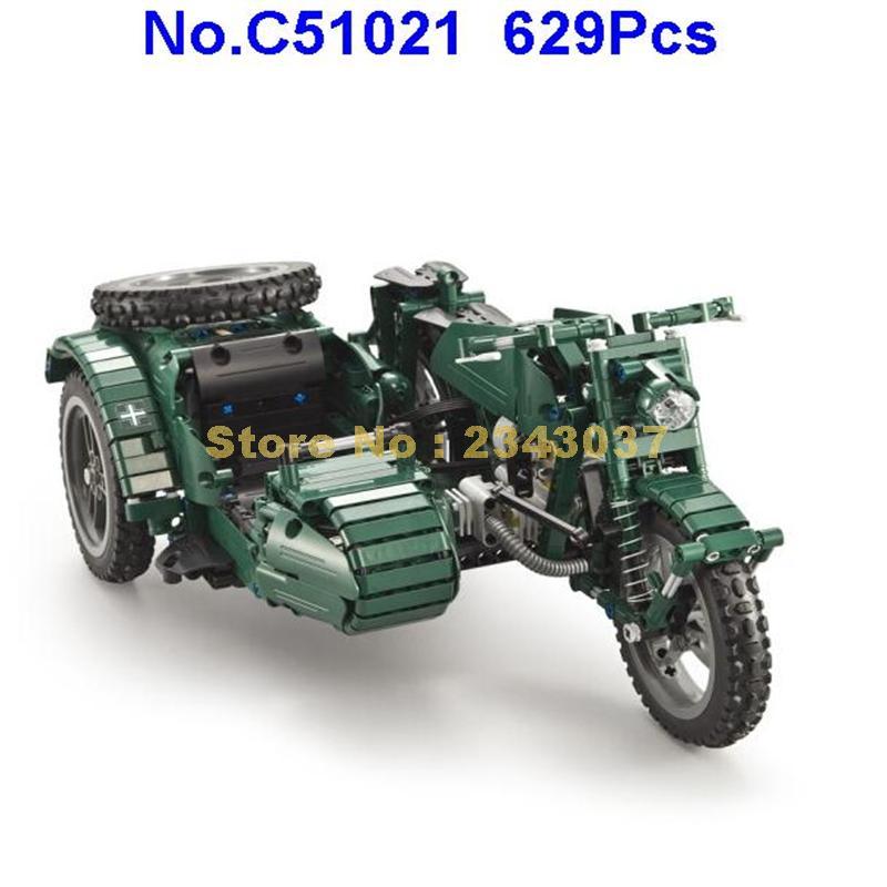 C51021 629pcs world war ii รถจักรยานยนต์ technic รีโมทคอนโทรล rc motor building block ของเล่น-ใน บล็อก จาก ของเล่นและงานอดิเรก บน   2