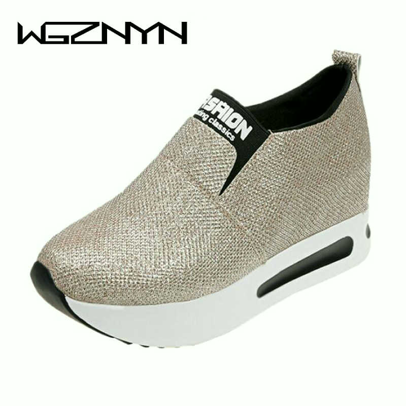 2018 NEW Spring Autumn Women Shoes Slip on Casual Platform Shoes Women Winter Wedges Platform Shoes Woman Outdoor Sneakers W309