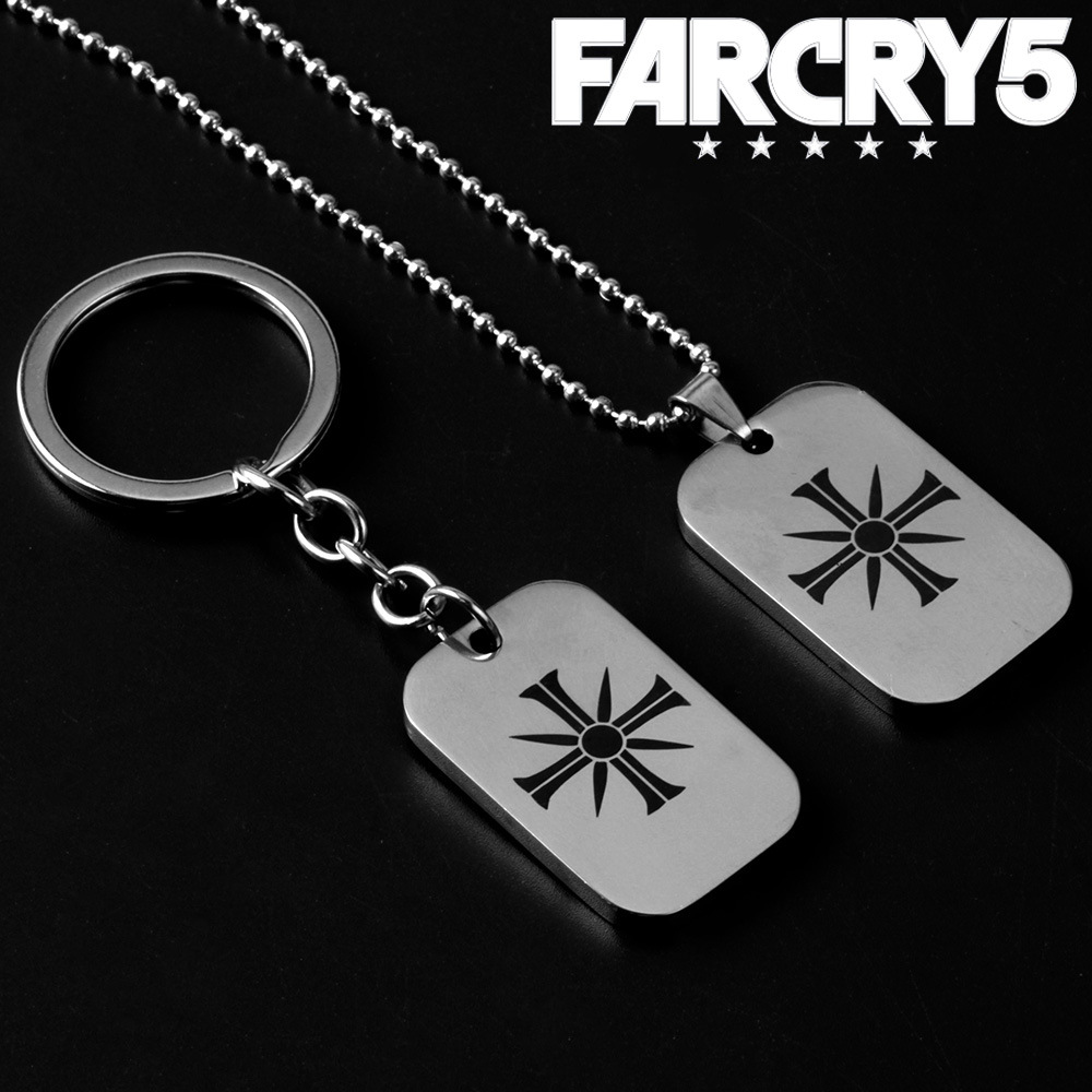FPS Game FARCRY5 Choker Necklace Stainless Steel Pendant Double Sides Medal Men Woman Fashion Jewelry Keychain Metal Keyring Fan