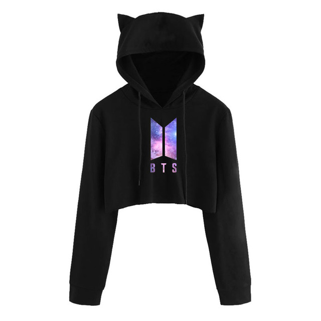 2018 BTS Kawaii Crop Top hoodie Love Yourself Kpop Print Funny Cat Ear Cropped Short Sweatshirt Hooded Pullover Women Tops Coat