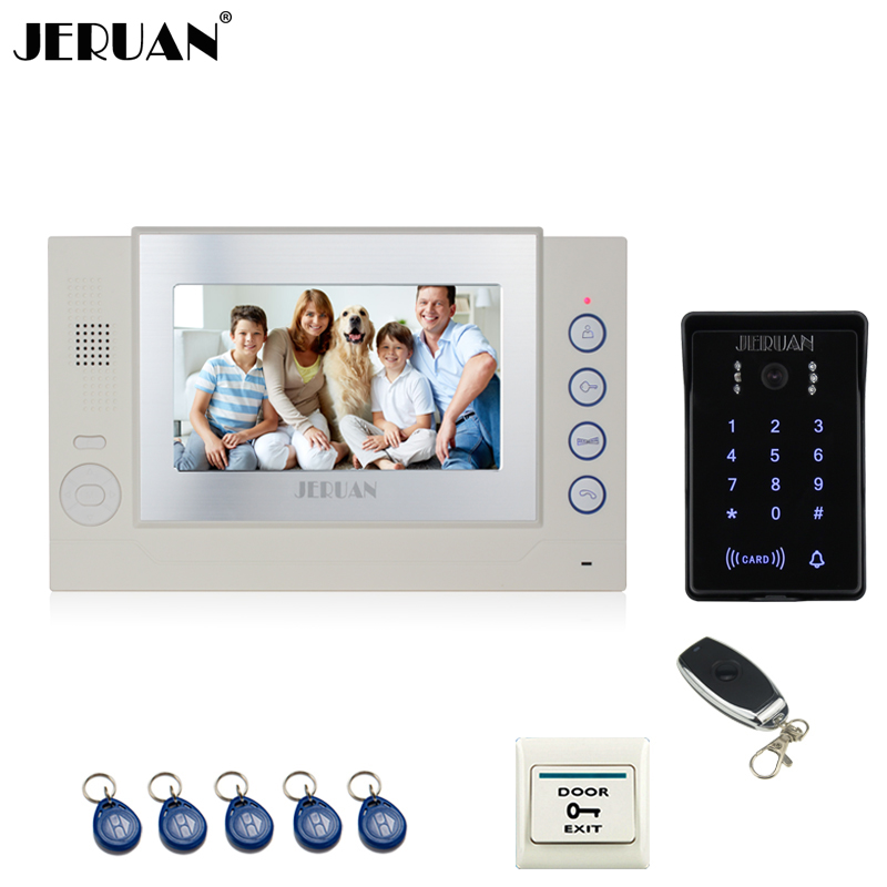 JERUAN Wired 7`` video door phone Record intercom system New 700TVL RFID waterproof Touch Key password keypad camera 8G SD Card jeruan 7 lcd video door phone record intercom system 3 monitor new rfid waterproof touch key password keypad camera 8g sd card