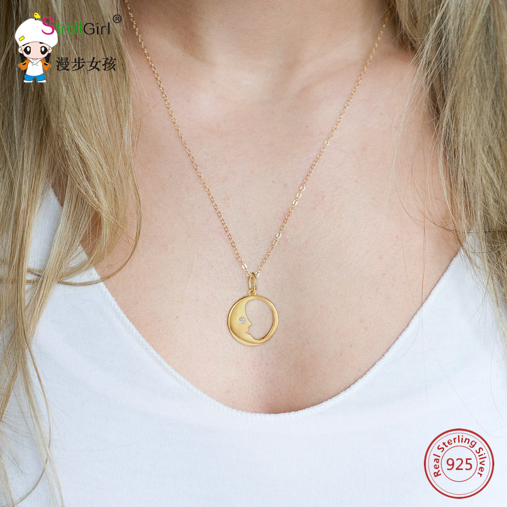 2018 New Strollgirl 925 Sterling Silver Round Shape with Moon Gold Pendants Necklaces For Women Zirconia Fashion Jewelry Gifts in Pendant Necklaces from Jewelry Accessories