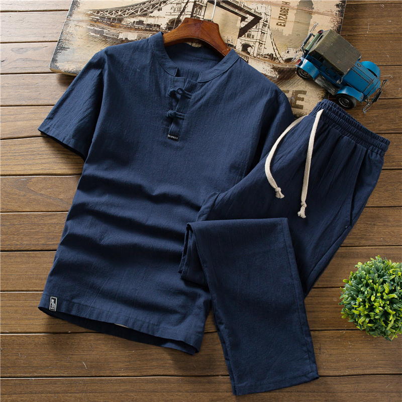 High quality summer thin linen set, men's cotton slim short-sleeved T-shirt solid color large size loose casual trousers S-5XL