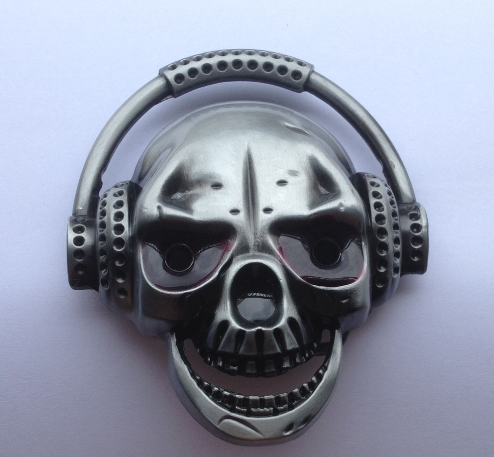 Cráneo de musical hebilla de cinturón con acabado de peltre JF-BY58 adecuado para 4 cm cinturón wideth con stock continuo