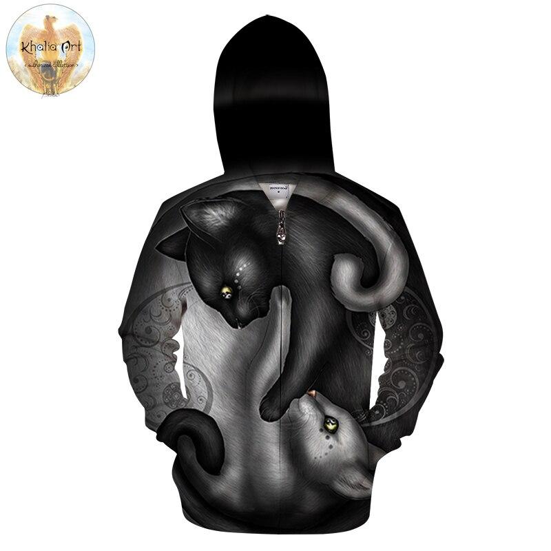 Yin yang gatto da KhaliaArt Cerniera 3D Felpe Con Cappuccio Pullover Uomo Felpe Casual di Marca Tute Zip UP Hoodie ZOOTOP ORSO