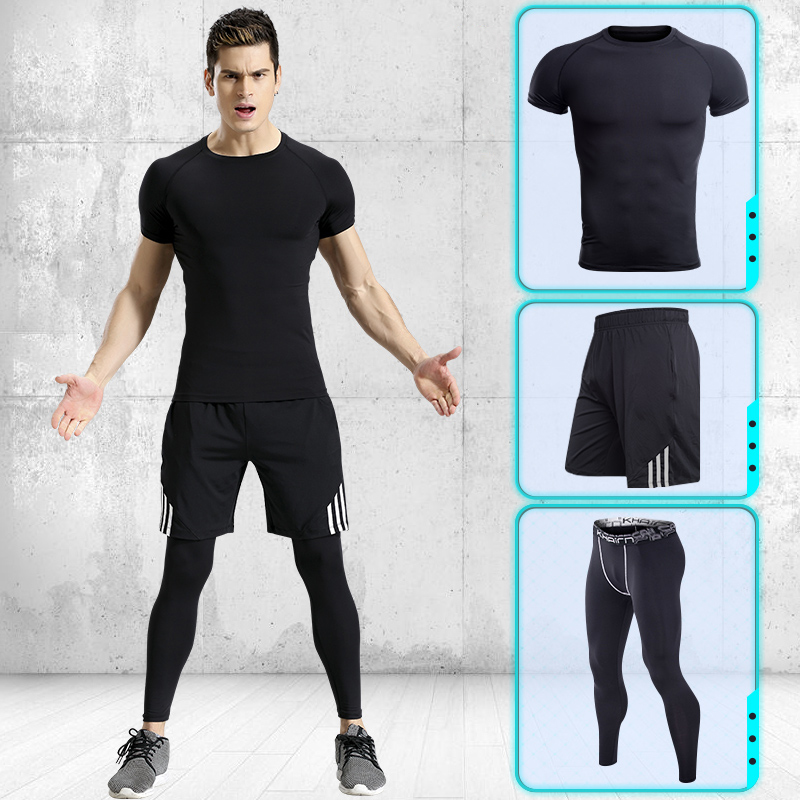 Men Running Pants T-shirt Tights Shorts Black Stitching Lines Quick Dry Yoga Sportswear Sport Set Fitness Gym Basketball Jerseys