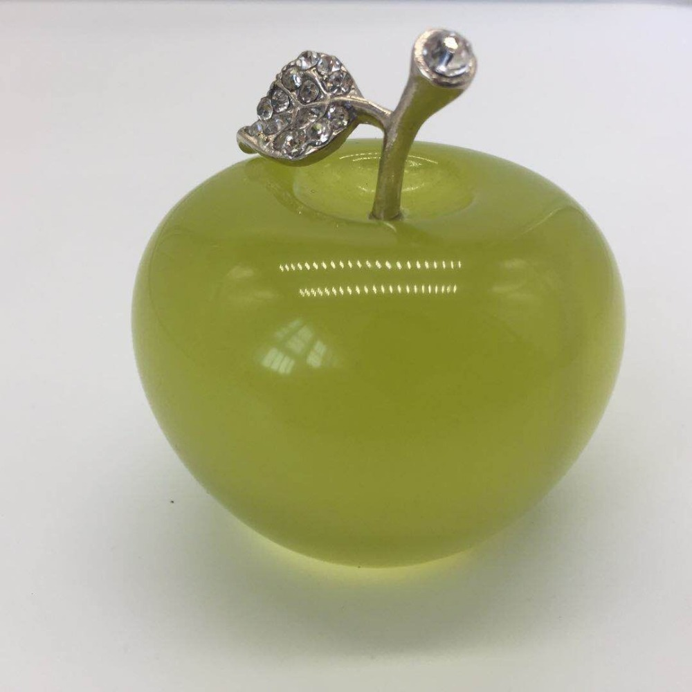 105g green Crystal Apple Smoothy Face Wedding Favor Home Decoration Handmade Crafts image