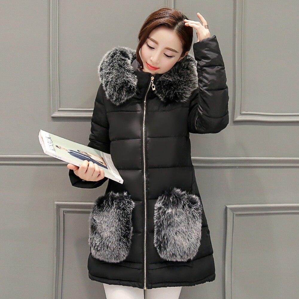 Winter Women Fur Coat Fashion Thicken Down Cotton Coat for women Hooded Fur Pockets Long Women
