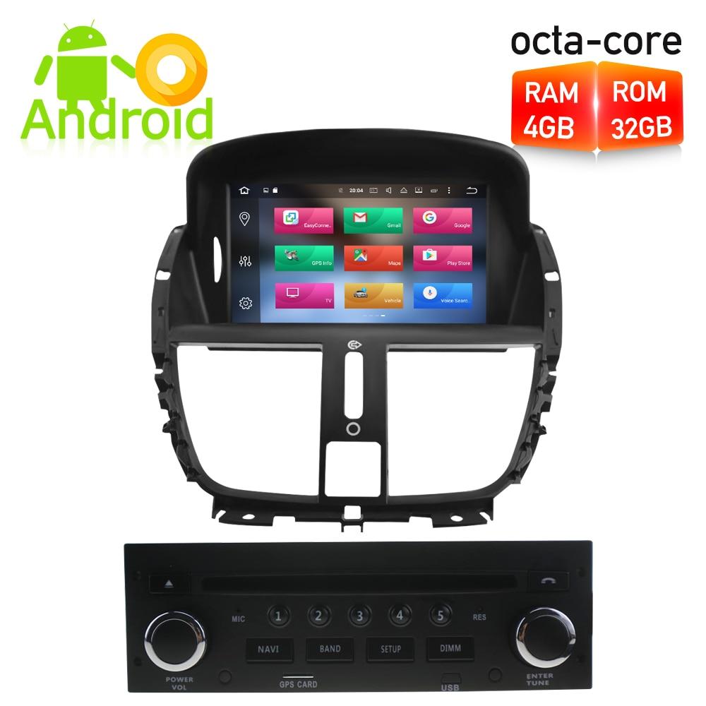все цены на Octa Core 4G RAM Android 8.0 Car DVD player GPS Navigation Multimedia Stereo For Peugeot 207 2008-2014 Auto Radio Audio Headunit онлайн