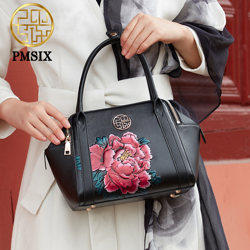PMSIX 2018 New Embossed Penoy Flower Genuine Leather Handbag Real Leather Tote Bag For Women Retro Vintage Shoulder Bag 110067 genuine leather handbag pmsix 2017 new national wind art fashion leather handbags retro embossed handbag shoulder bags
