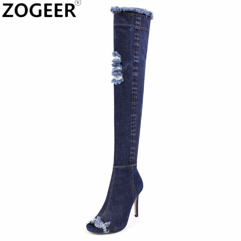 Hot Women Denim Thigh High Boots Sexy Cut Out Autumn Long Jean Boots Over the Knee Peep Toe Gladiator high Heel Ladies Shoes