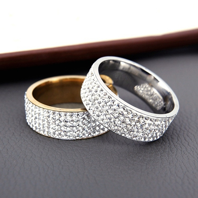 Row Lines Clear Crystal Wedding Rings For Women Fashion Top Dealer
