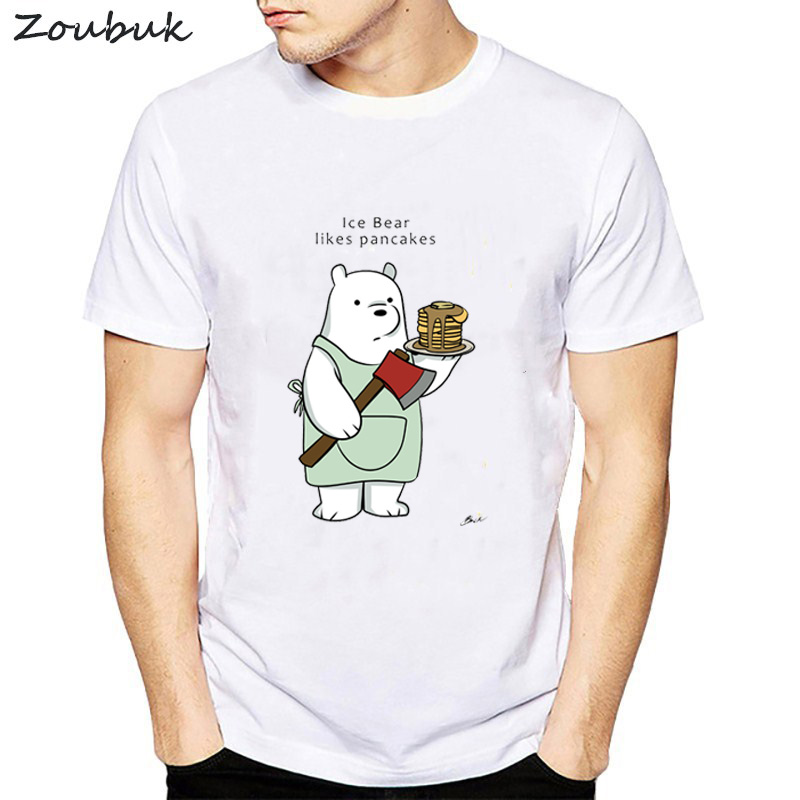 Funny   T  -  Shirt   We Bare Bears   T     Shirt   Men Fashion Printed Ice Bear Short Sleeve Stackable Casual harajuku tops hip hop funny Tee