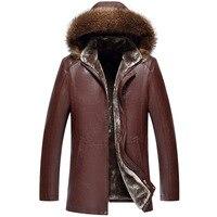 Новинка 2018 года высокое качество зимнее кожаное пальто для мужчин большой натуральный меховой воротник с капюшоном из искусственной кож