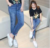 Moda Na Co Dzień Denim Slim Haft Plus Rozmiar L-4XL Kobiety Jeans Wiosna Lato jesień Nowy Gorący Sprzedaje Pani Spodnie Y035