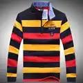 Tace & tubarão t camisa Marca de moda masculina Outono e inverno dos homens roupas de Algodão da listra bordado de manga comprida t shirt bilionário